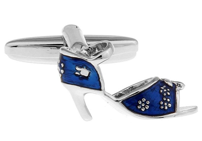3fb2aa54b04d3 Ladies High Heel Shoes Blue Floral Heels Women's Cufflinks Cuff Links