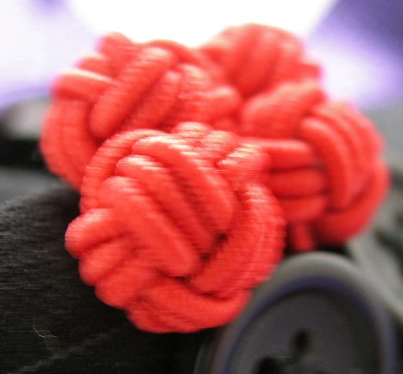 and Sunshine Yellow  Bound Cuff Links Primary Twist Silk Knot Cufflinks Classic Blue Intense Red