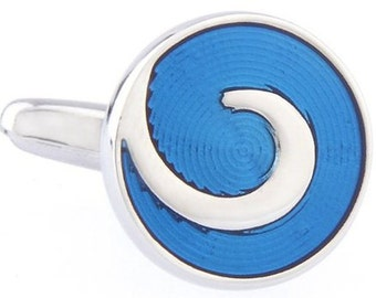 Silver Turqoise Blue Swiril Cufflinks Round Classic Cuff Links