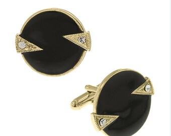 Whistler Cufflinks Round Gold Tone Crystal Black Enamel Round Cuff Links
