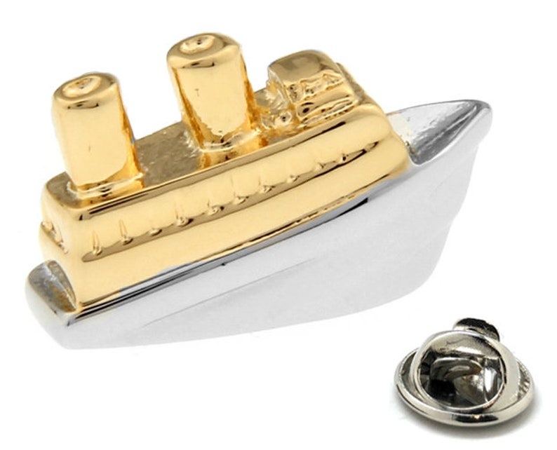Enamel Pin Cruise Ship Lapel Pin Silver Gold Ocean Liner Tie Tack Collector  Pin Ship Ocean Travel Boat Comes with Gift Box