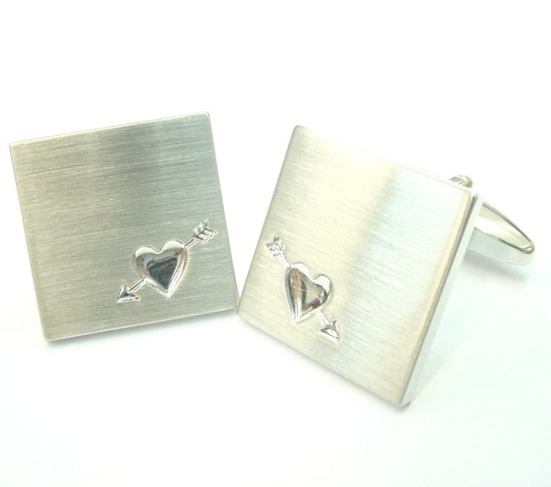 Silver Heart Cufflinks Brushed Square Lovers Arrow Heart Deluxe Cufflinks Cuff Links Groom Father Bride Wedding Anniversary Father\u2019s Day