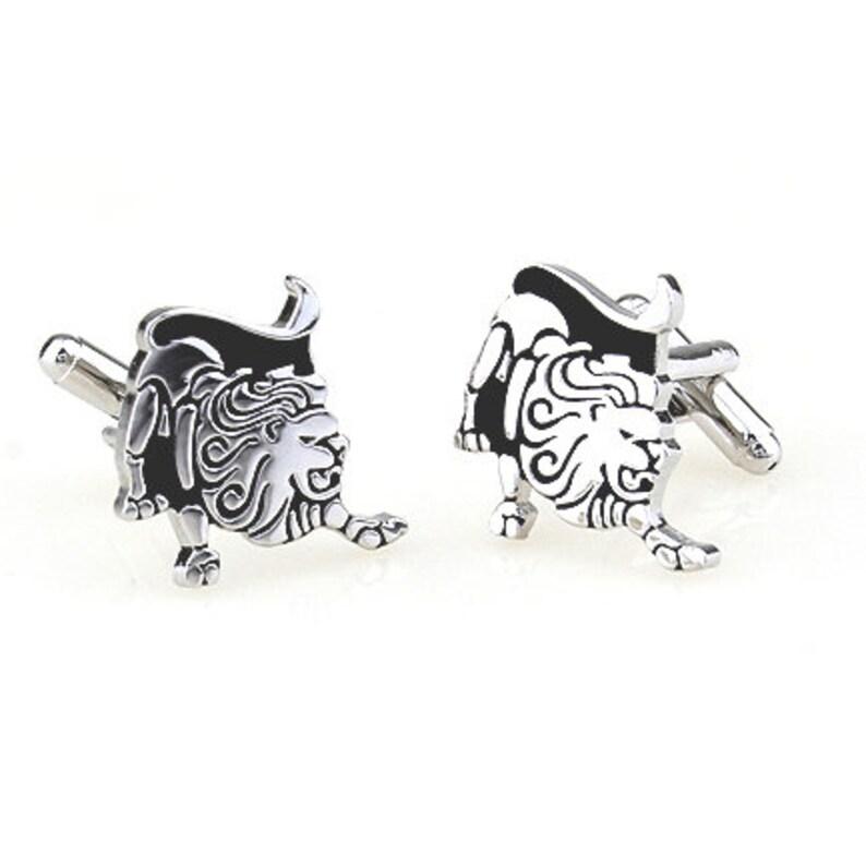 Zodiac Cufflinks Silver and Black Enamel Leo Zodiac Astrology Sign Cuff Links