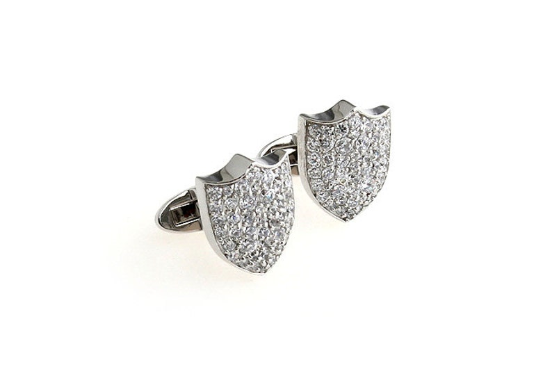 Crystal Shield Cufflinks Thousand Points of Light Shield Pave Crystal Formal Cuff Links Cufflinks