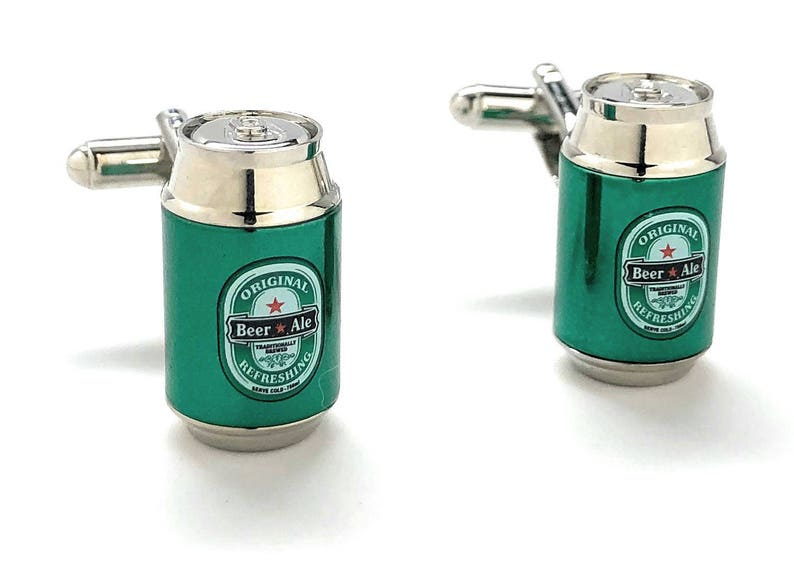 Green Beer Can Cufflinks Ice Cold Beer Ale Alcohol Party Good Times Cuff  Links Cool Fun 3D Design Detailed Comes with Gift Box