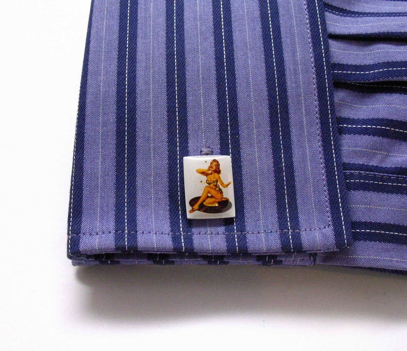 Pin Up Girl Cufflinks  1940s 1950s  Cuff Links Glamor Girls Fun for Party Wear Event Comes with Gift Box