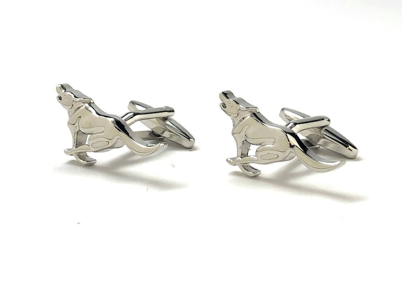 Running Retriever Dog Cufflinks Silver Tone 3D Design Good Times Fun Cool Unique Cuff Links Gift Box