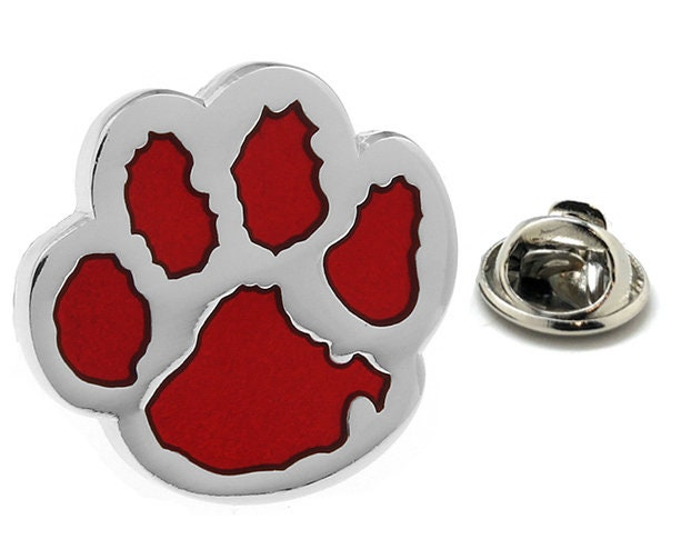 Enamel Red Dog Paw Lapel Pin Silver Red Enamel Tie Tack Collector
