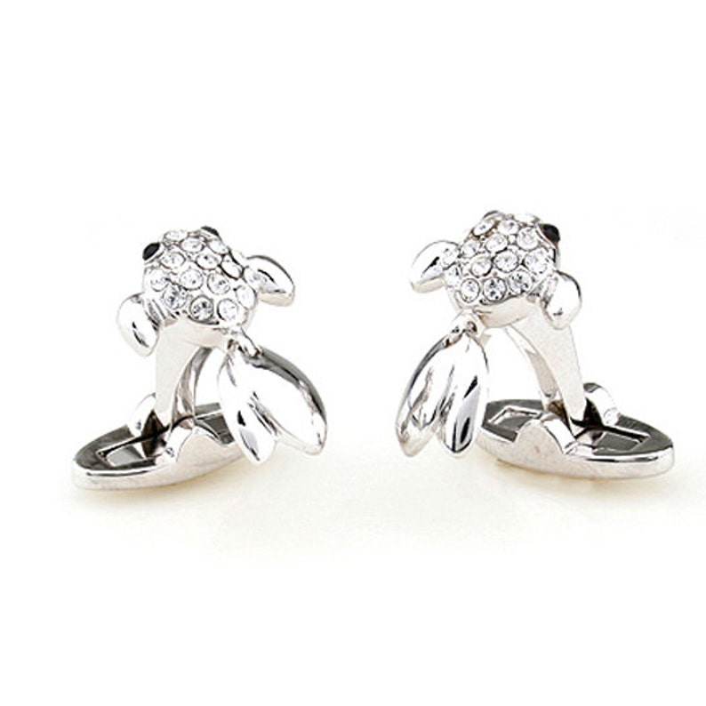 Fish Cufflinks Silver Swimming Fish with Tiny Crystals Moving Tail Straight Whale Post Back Cufflinks Special Cuff Links