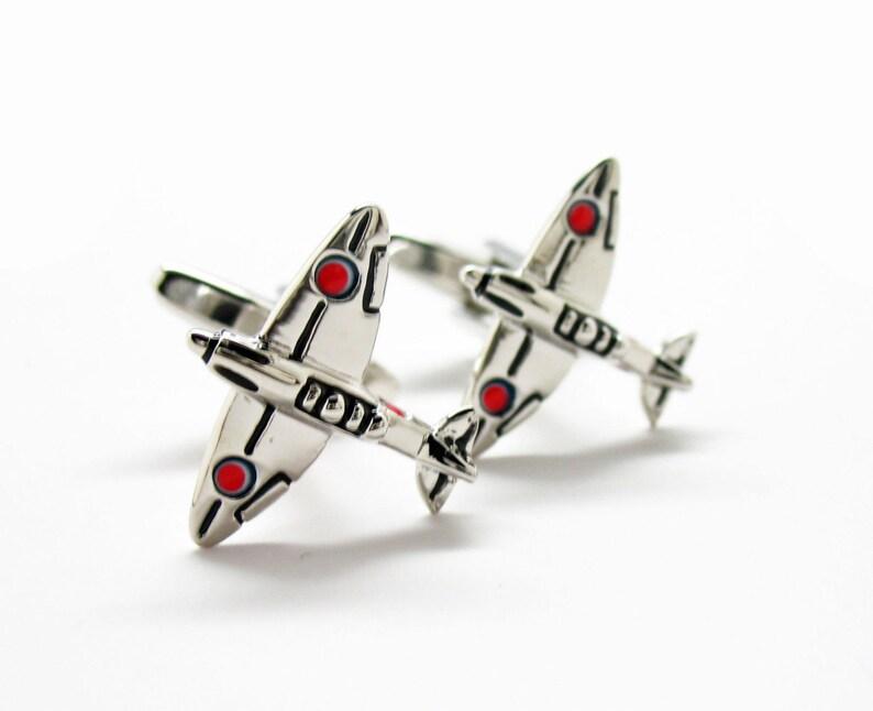 Silver Tone World War II Fighter Plane War Birds Cufflinks Cuff Links