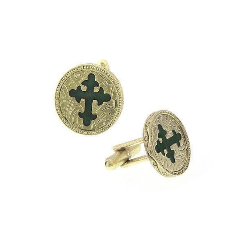 14K Gold Dipped With Green Enamel Cross Cufflinks Religious Collection Round Faith Cuff Links