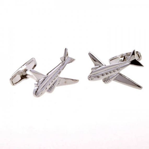 Mens Executive Cufflinks Transportation Collection Silver Tone Airplane Spinning Propeller Cuff Links