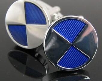 Silver Blue Cufflinks Round Classic Reflective Half Stone Cuff Links