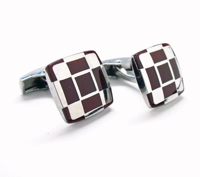 Shiny Silver Cufflinks Checkered Cherrywood Stainless Steel Classic Whale Tail Back Pefect Cuff Links