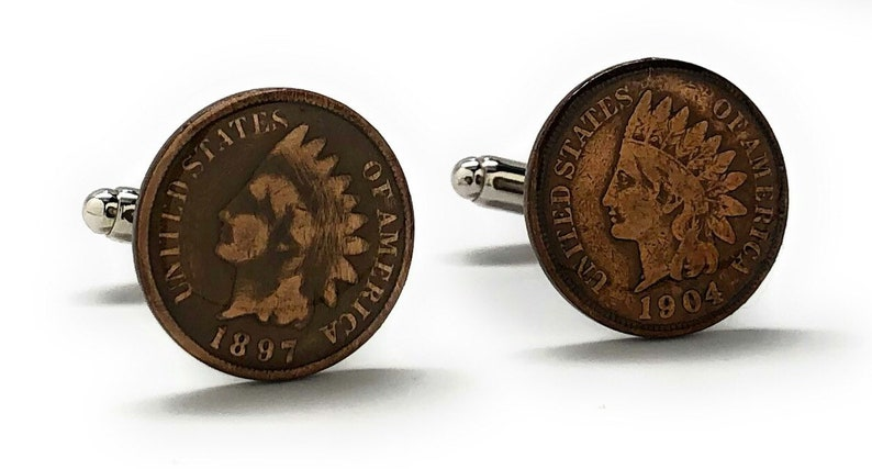 Birth Year Birth Year Unites States Old West Indian Head Penny Cufflinks  Old Coin Jewelry Money Cuff Links Comes with Gift Box