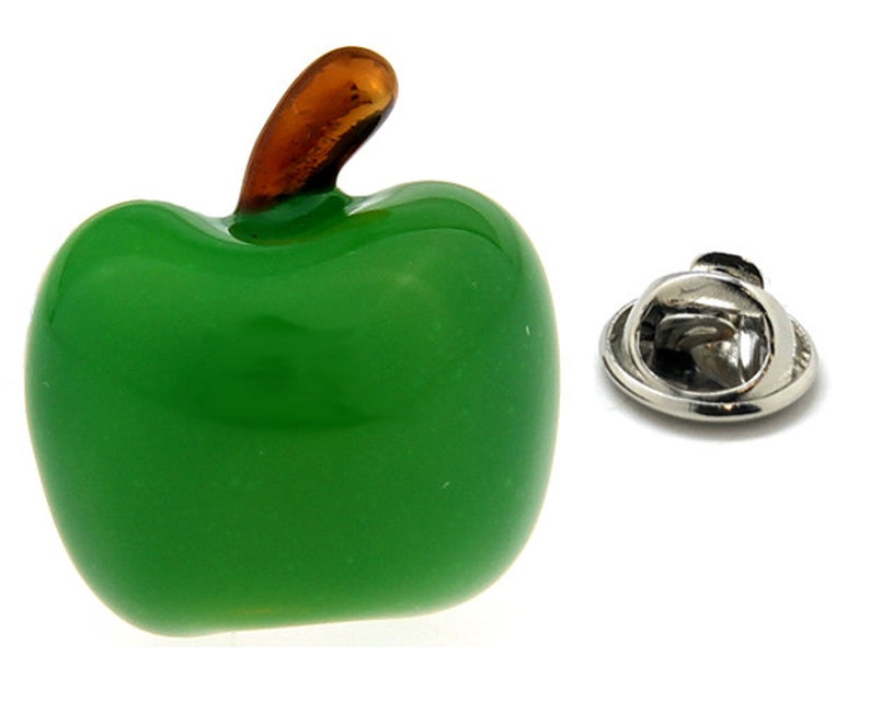 Enamel Pin Green Apple Lapel Pin Granny Smith Apple Tie Tack Collector Pin  School Teacher Educator Green Enamel with Silver Tone