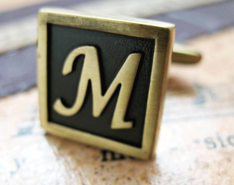 Initial M Cufflinks Letter M Cufflinks Antique Brass Cufflinks Monogram M Cuff Links Fathers Day Gift Gifts for Dad Husband Wedding Cuffs
