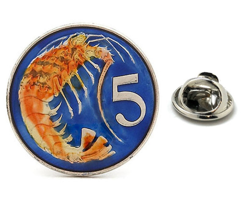 Enamel Pin Cayman Island 5 Cent Enamel Coin Shrimp Lapel Pin Tie Tack Collector Pin Royal Common Wealth Travel Souvenir Hand Painted Cool