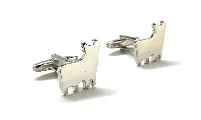 Silver Bull Cufflinks Lama Andes Alpaca Gunmetal Finish Cuff Links Very Unique Coolest Gift Gifts for Dad Husband Gifts for Him Comes Box