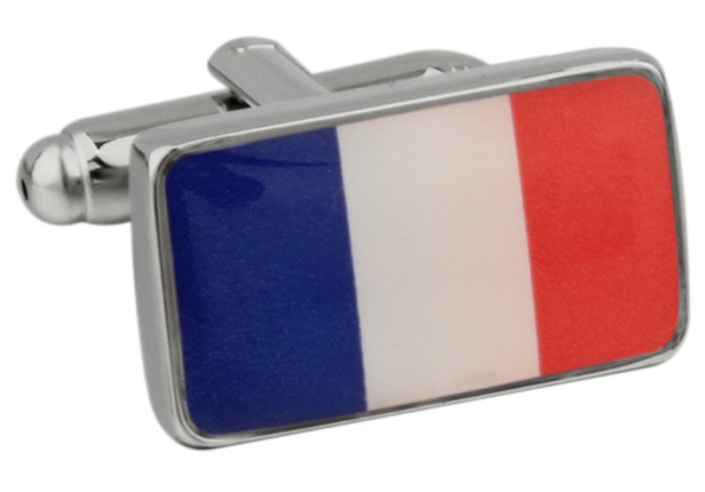 Men/'s Executive Cufflinks Shiny Silver French Flag Bon Voyage Country Flag Cuff Links