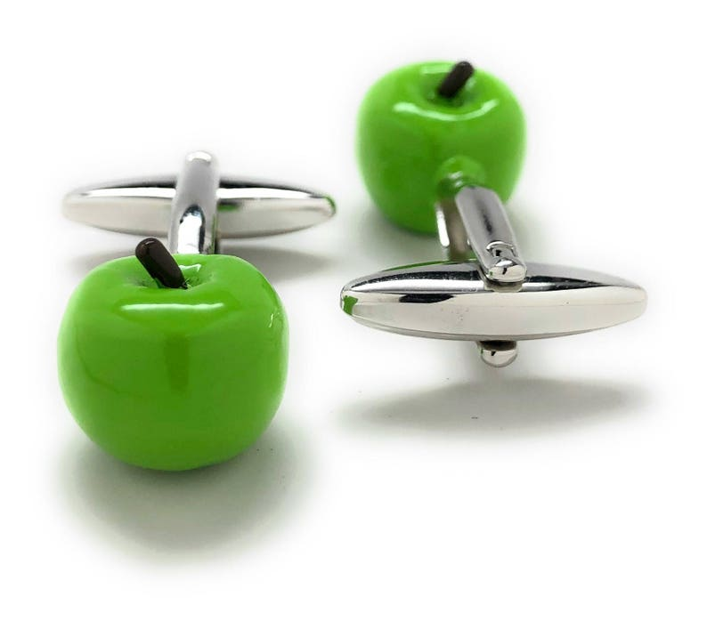 3D Granny Smith Apple Cufflinks Detailed Technology School Education Computers Cuff Links Comes with Gift Box