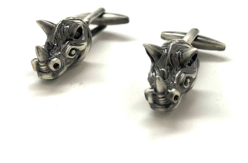 Rhino 3D Head Cufflinks Gunmetal African Safari Animals Highly Detailed  Cool Cuff Links with Gift Box White Elephant Gifts