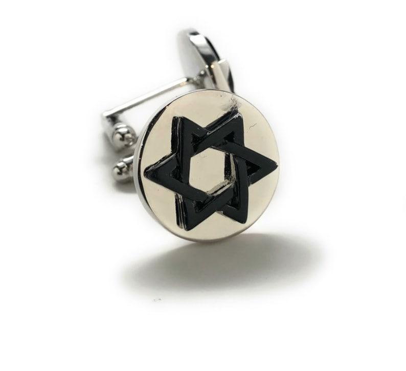 Silver Tone Jewish Cufflinks Star of David Religious Symbols Star Shield of David Magen David Cuff Links Comes with Gift Box