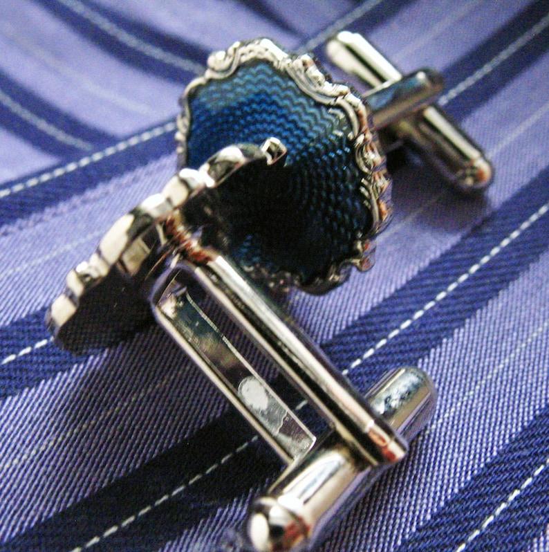 Ice Cufflinks Blue Silver Toned Pool Enamel Round Cuff Links Cufflinks
