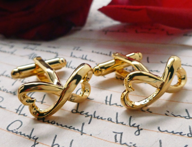 Infinity Heart Knot Cufflinks Symbol Big Gold Tone Solid Post Cuff Links Great for Weddings Groom Father Bride Anniversary with Gift Box