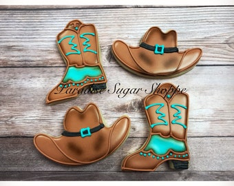 0bc073d5d5a Cowboy Boots and Hat Decorated Cookies - 1 Dozen