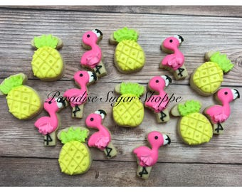 Flamingo and Pineapple Decorated Cookies - 3 Dozen MINI COOKIES