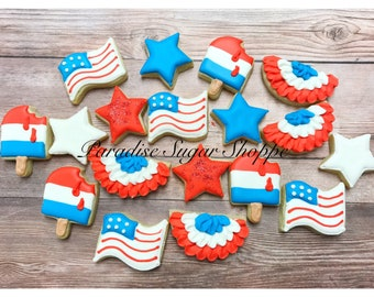 Patriotic American Flag Decorated cookies - 3 Dozen MINI Cookies