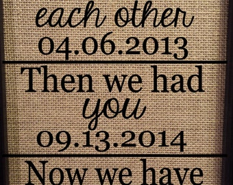 Framed Burlap Print - Date Frame - First we had each other then we have you now we have everything - New baby - Custom - 8 x 10