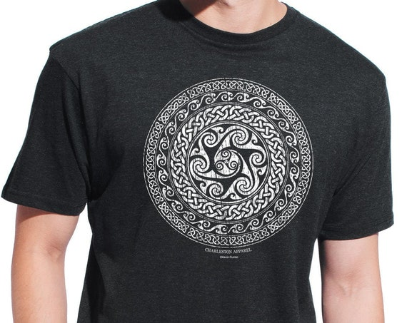 Celtic Circle, Celtic Knot Short Sleeve Charcoal Shirt, Unisex Sizes, Irish Design, St Patrick's Shirt, gift for him or her
