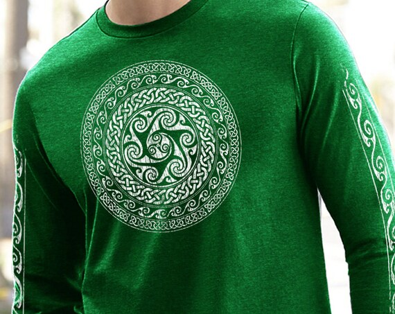 Celtic Circle, Celtic Knot Long Sleeve, Wave Design, Unisex Sizes, St Particks Day Shirt Irish Design St Patricks Shirt, gift for him or her