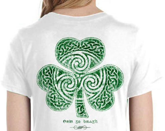 St. Patrick's Day Shirt - Celtic Clover Shirt - Ladies Sizes - White Shirt - Celtic - Shamrock - Irish - Saint Patrick's Day Parade
