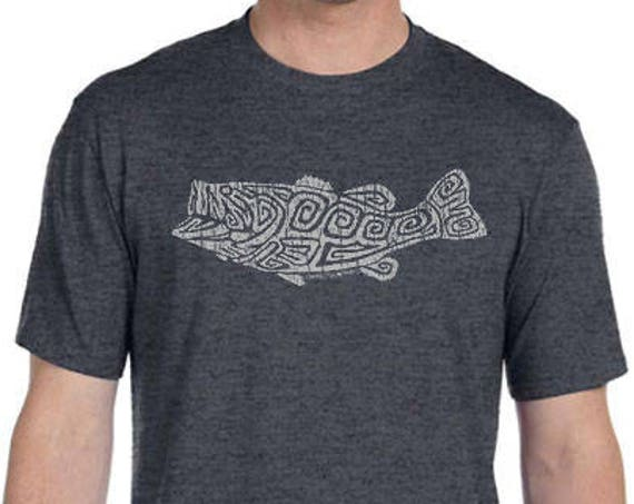 Largemouth Bass Design - Men's and Ladies Sizes Available - Dark Heather Grey T-Shirt - Lucky Fishing Shirt - Angler - Gift for Fisherman