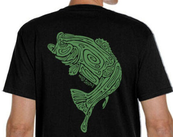 Large Mouth Bass Fish Shirt - Hand Screen Printed - Men's Black Organic T-Shirt - Ring Spun Cotton - Fisherman - Christmas Gift for him