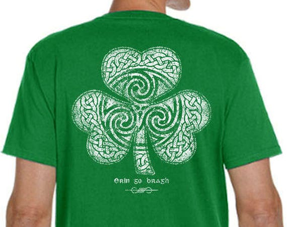 St. Patrick's Day Shirt - Ready to Ship - Celtic Clover Shirt - Men's Unisex Sizes - Green Shirt - Celtic - Shamrock - Irish - St. Patty