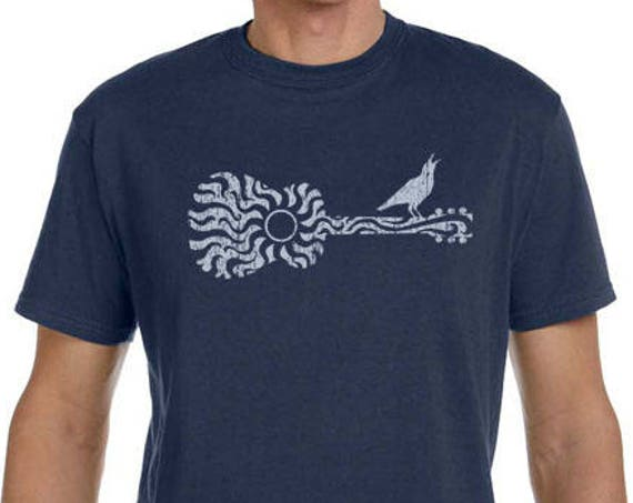 Sun Guitar with Bird Shirt - Men's 100% Organic Cotton Pacific Blue - Soft 5.5oz - Gift for Musician - Gift for Guitar Player - Christmas