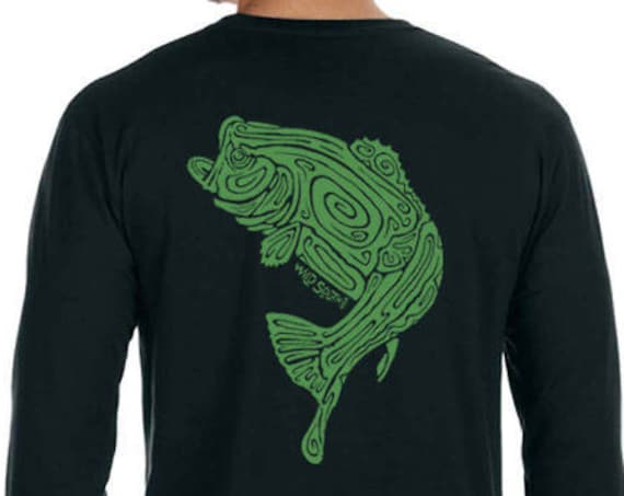 Large Mouth Bass Fish Shirt - Hand Screen Printed - Men's Black Long Sleeve T-Shirt - Angler Shirt - Christmas Gift for him
