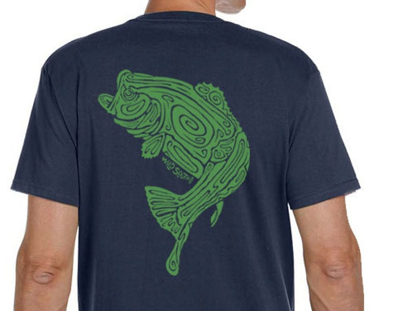 Large Mouth Bass Fish Shirt - Hand Screen Printed - Men's Pacific Blue Organic Short Sleeve T-Shirt - 5.5 oz 100% Ring Spun Cotton - Fishing