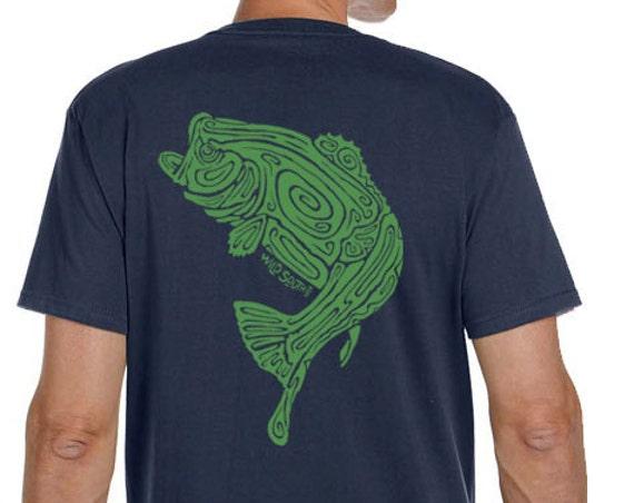 Large Mouth Bass Fish Shirt - Hand Screen Printed - Men's Pacific Blue Organic Short Sleeve T-Shirt - 5.5 oz 100% Ring Spun Cotton - Fishing