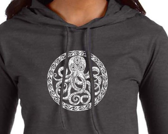 Octopus Design on Ladies Long Sleeve Hooded T-Shirt - Dark Heather Grey - Soft 4.5oz Ring Spun Cotton Hooded Shirt - Octopus