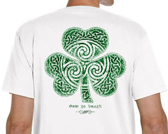St. Patrick's Day Shirt - Ready to Ship - Celtic Clover Shirt - Men's Unisex Sizes - White Shirt - Celtic - Shamrock - Irish
