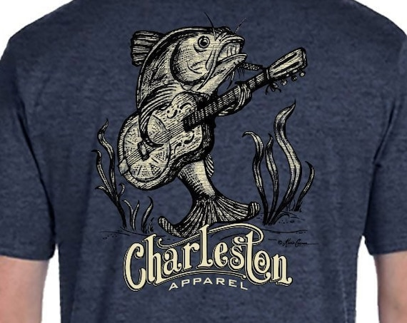 Catfish Guitar Design - Unisex Sizes Available - Denim Heather T-Shirt - Catfish  - Guitar - Gift for Angler