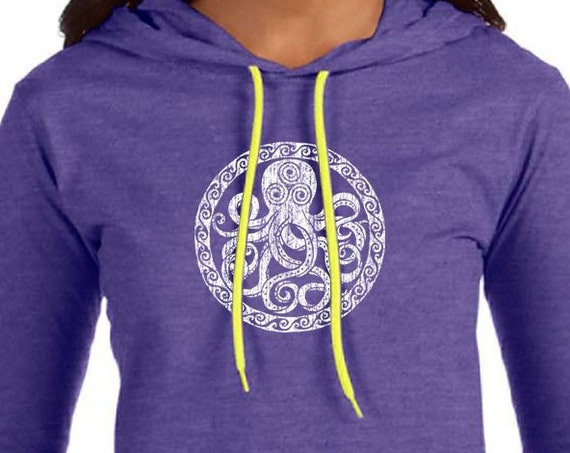 Octopus Design on Ladies Long Sleeve Hooded T-Shirt - Heather Purple - Soft 4.5oz Ring Spun Cotton Hooded Shirt - Octopus