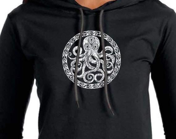 Octopus Design on Ladies Long Sleeve Hooded T-Shirt - Black - Soft 4.5oz Ring Spun Cotton Hooded Shirt - Octopus