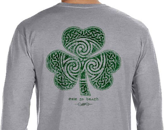 St. Partick's Day Shirt - Ready to Ship - Celtic Clover Shamrock - Long Sleeve Men's / Unisex Sizes Available - Heather Grey Shirt - Irish