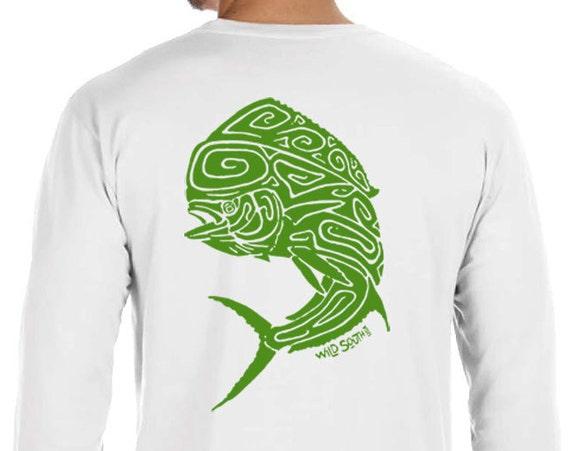 Mahi Mahi Dolphin Fish Design - Hand Screen Printed - Unisex Long Sleeve White 5.4 oz Ring Spun Cotton - Fishing Shirt - Gift for Fisherman